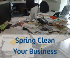 Cluttered desk, needs to spring clean your business